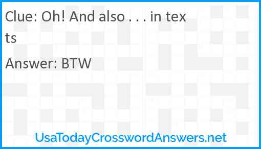 Oh! And also . . . in texts Answer