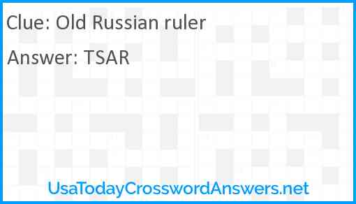 Old Russian ruler Answer