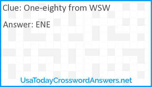 One-eighty from WSW Answer