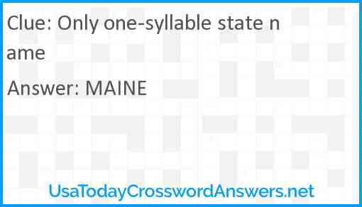 Only one-syllable state name Answer
