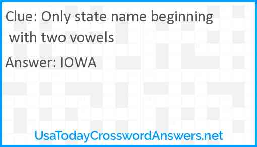 Only state name beginning with two vowels Answer