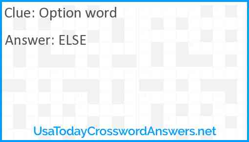 Option word Answer