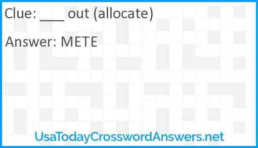 ___ out (allocate) Answer
