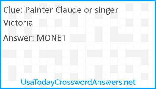 Painter Claude or singer Victoria Answer