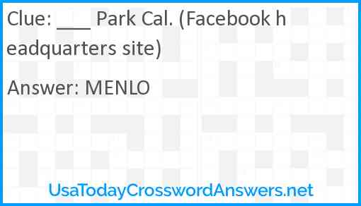 ___ Park Cal. (Facebook headquarters site) Answer