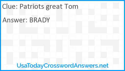 Patriots great Tom Answer