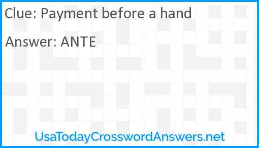 Payment before a hand Answer