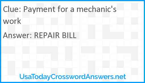 Payment for a mechanic's work Answer