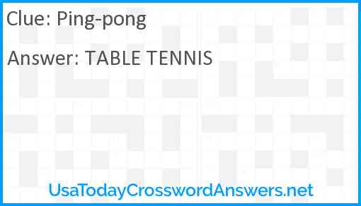 Ping-pong Answer