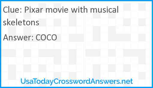 Pixar movie with musical skeletons Answer