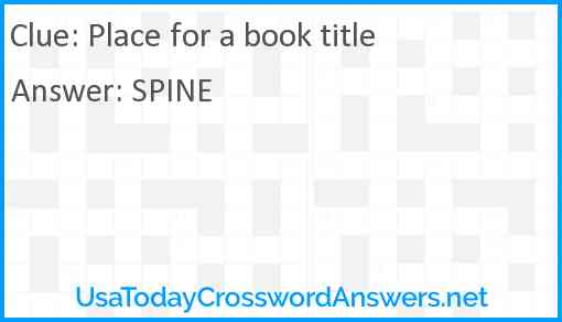 Place for a book title Answer