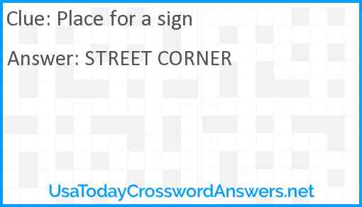 Place for a sign Answer