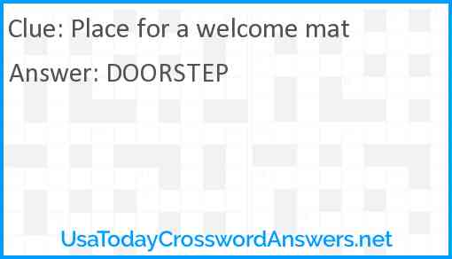 Place for a welcome mat Answer