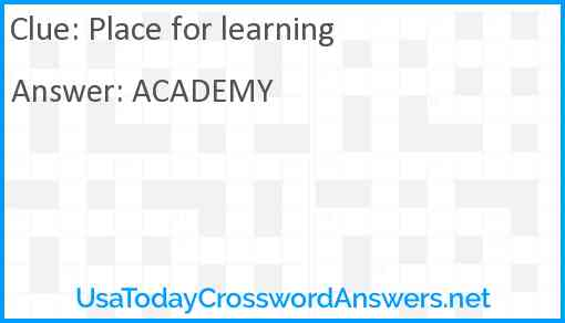Place for learning Answer