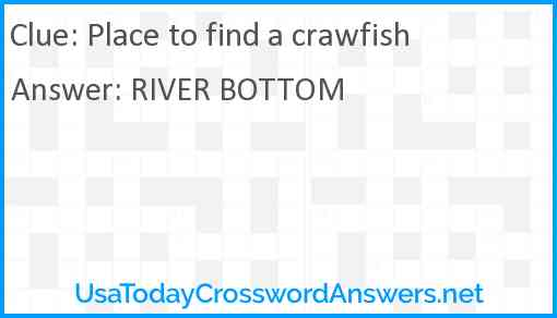 Place to find a crawfish Answer