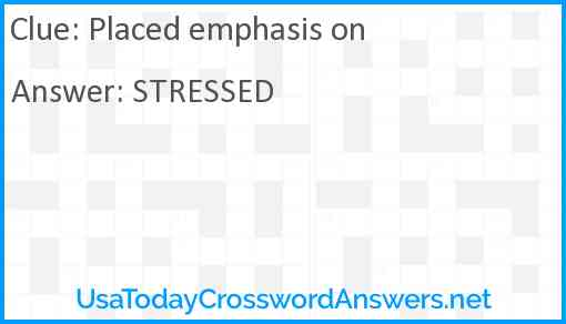 Placed emphasis on Answer