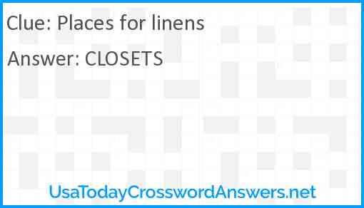 Places for linens Answer