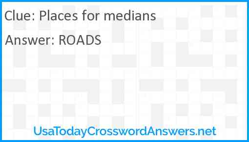 Places for medians Answer