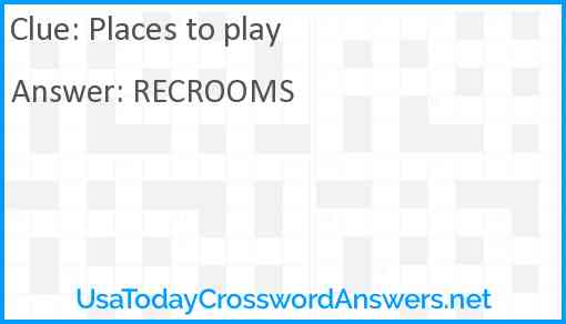 Places to play Answer