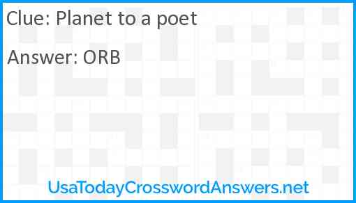 Planet to a poet Answer