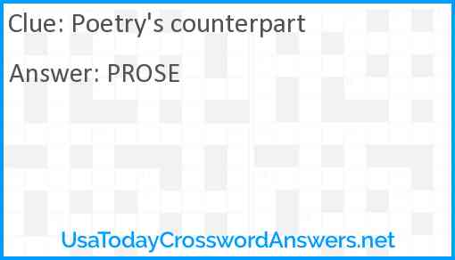 Poetry's counterpart Answer