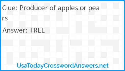 Producer of apples or pears Answer