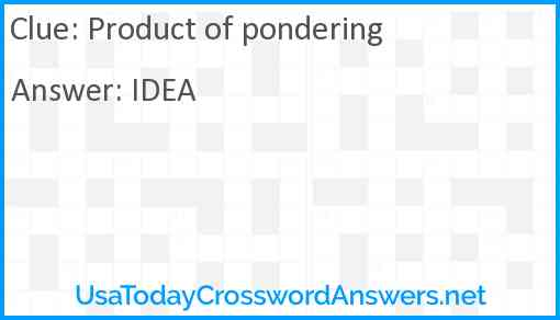 Product of pondering Answer