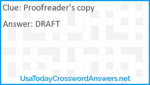 Proofreader's copy Answer
