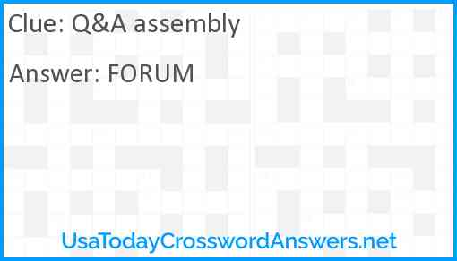 Q&A assembly Answer