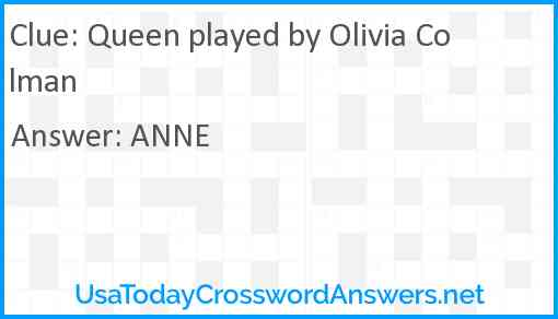 Queen played by Olivia Colman Answer