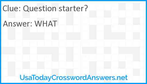 Question starter Answer