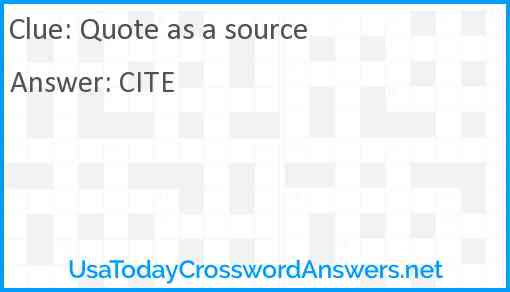 Quote as a source Answer