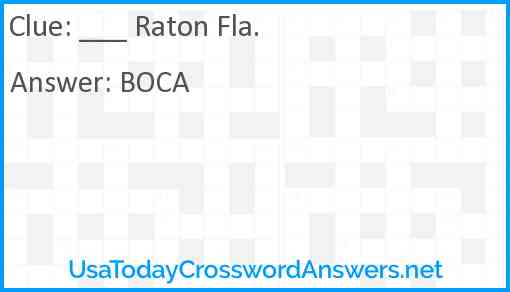 ___ Raton Fla. Answer