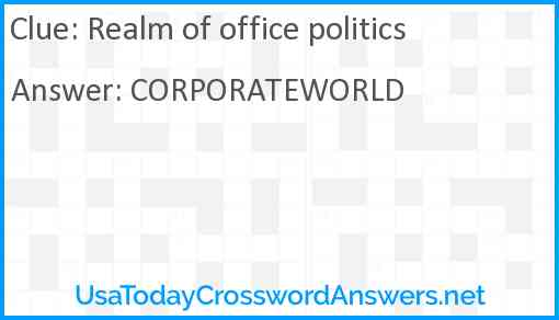 Realm of office politics Answer
