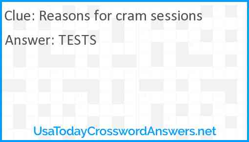 Reasons for cram sessions Answer