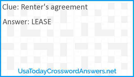 Renter's agreement Answer