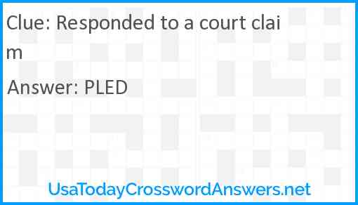 Responded to a court claim Answer