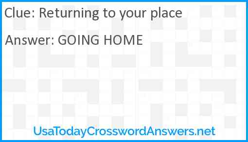 Returning to your place Answer