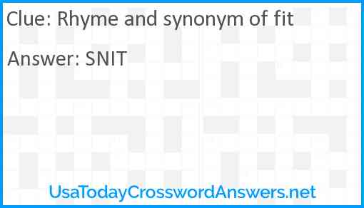 Rhyme and synonym of fit Answer