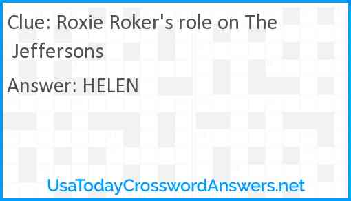 Roxie Roker's role on The Jeffersons Answer