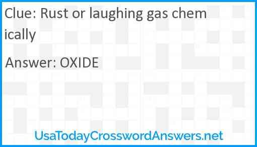 Rust or laughing gas chemically Answer