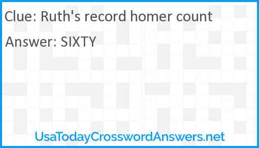 Ruth's record homer count Answer