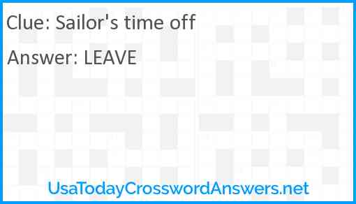 Sailor's time off Answer