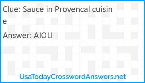 Sauce in Provencal cuisine Answer