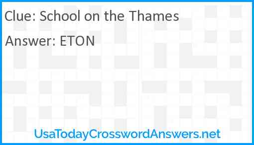 School on the Thames Answer