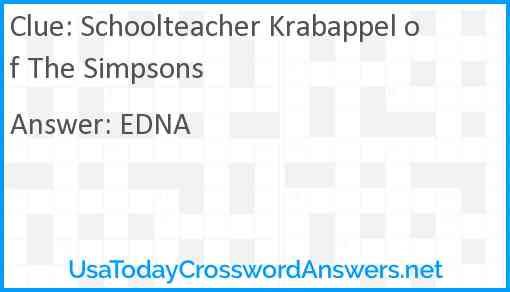 Schoolteacher Krabappel of The Simpsons Answer