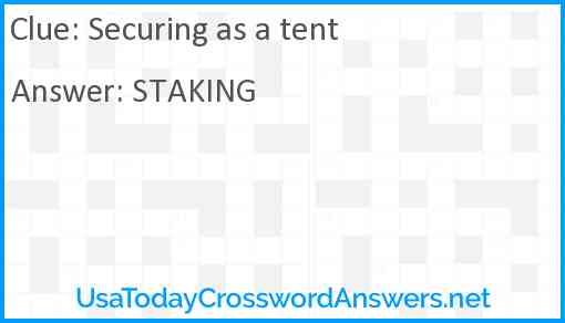 Securing as a tent Answer