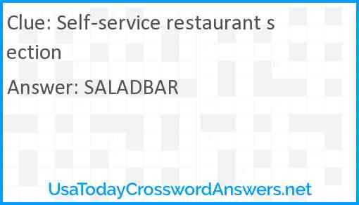 Self-service restaurant section Answer