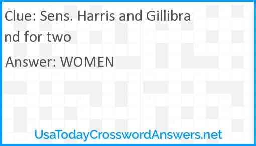 Sens. Harris and Gillibrand for two Answer