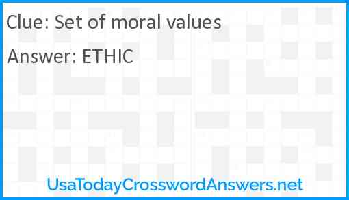 Set of moral values Answer